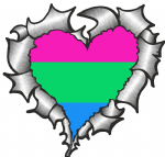 Ripped Torn Metal Heart with LGBT Polisexual Pride Flag Motif External Car Sticker 105x100mm